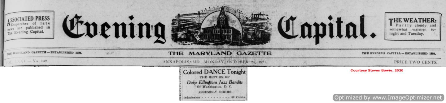 October 24 ad for the return of Duke Ellington's Jazz Bandits