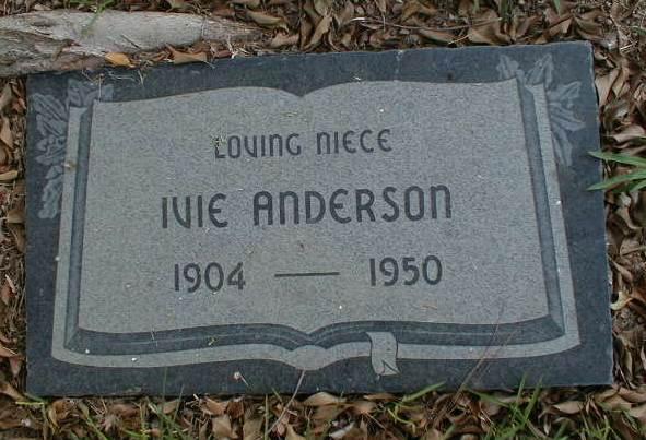 LOVING NIECE  IVIE ANDERSON  1904-1950